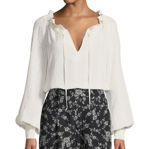 CO Cinched-Neck Long-Sleeve Jacquard Blouse Ivory